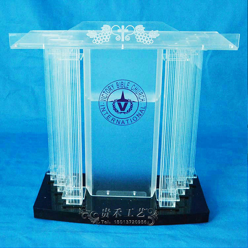 GUIHEYUN clear church pulpit acrylic podium with customized logos sale podium customized acrylic lectern crystal podium pulpit