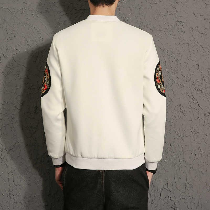 2017 Мужская Повседневная китайская ветрозащитная куртка мужская саморазвитие вышивка с кристаллами куртка с драконами Высококачественная мужская бейсбольная одежда