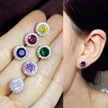 Fashion Cute Round Flower Pink or Yellow Emerald Royal Blue CZ diamond Pave Setting Stud Earrings Women Jewelry