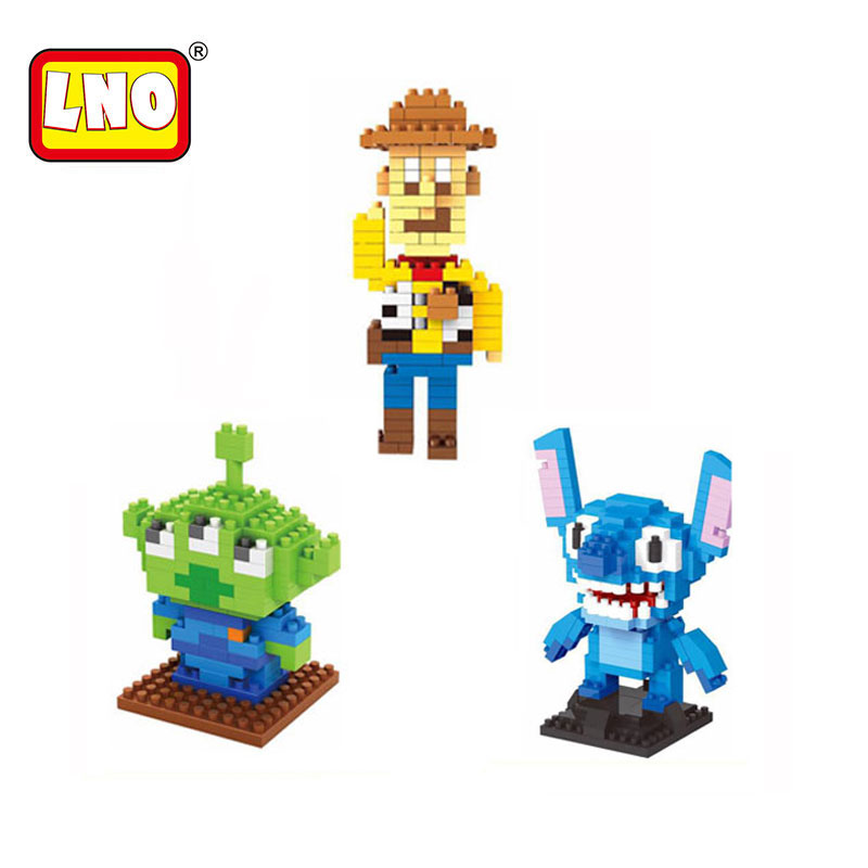 LNO nano blocks kawaii Toy Story Buzz light year woody Squeeze Aliens Stitch Elves building bricks educational toys kids gifts.