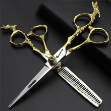 Barber Salon Cut Hair Scissors 6 Inch Gold Cutting Shears Dragon Thinning Japan 440c Professional Clipper Berber Makas