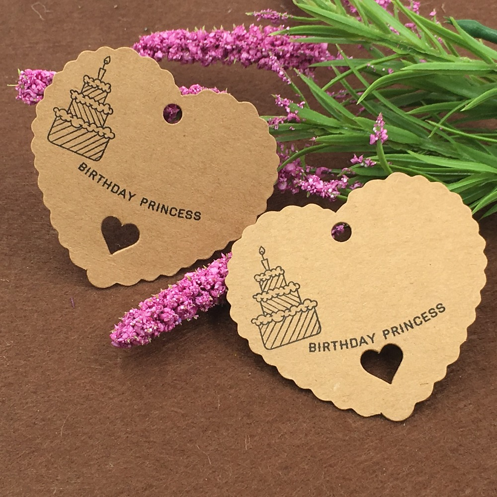 200pcs/lot new 6.5*6cm brown Heart Label Paper Tag Gift Hang Card Price Karft Luggage Wedding Party tags