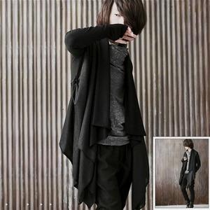 Image 2 - Men gothic punk hip hop hoodie irregular design long cloak japanese streetwear men nightclub singer stage cardigan costume 6XL