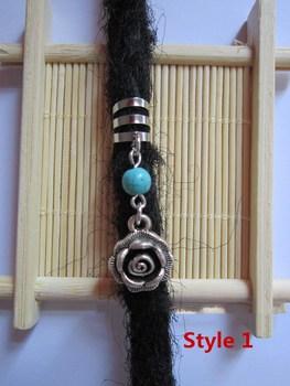 "2 perles de dreadlocks ""Rose & turquoise"""