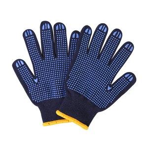 Image 2 - מקצועי עבודה כפפות GMG חיל הים כחול Polycotton פגז כחול PVC נקודות ציפוי עבודת בטיחות כפפות כותנה כפפות