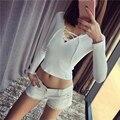 Marca Designer Estilo Mulheres amarrar fio peito Sexy Com Decote Em V T-shirt Básica Projeto Short Slim T-shirt feminina