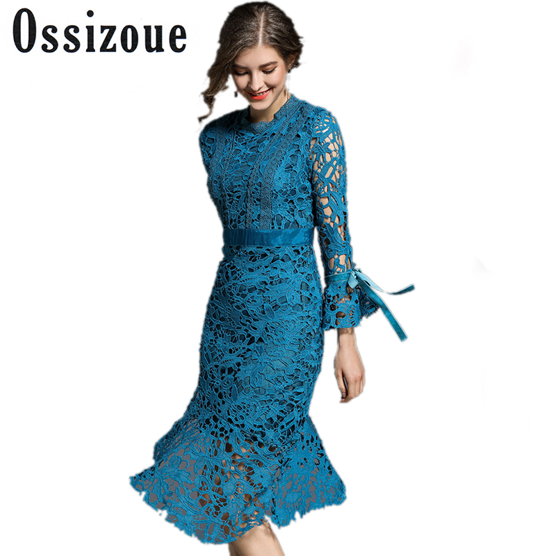 4c395f6a66c Runway Dresses 2018 New Spring Fashion Women Hollow Out Lace Dress Elegant  Long Sleeve Asymmetrical Evening