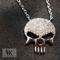 2016 Hot Free shipping 100% 925 sterling Silver Necklace for women Steampunk  fashion jewelry pendant Skull Skeleton necklace