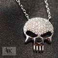 2016 Hot Frete grátis 100% 925 Colar de prata para as mulheres Steampunk Esqueleto Crânio colar de moda jóias pingente