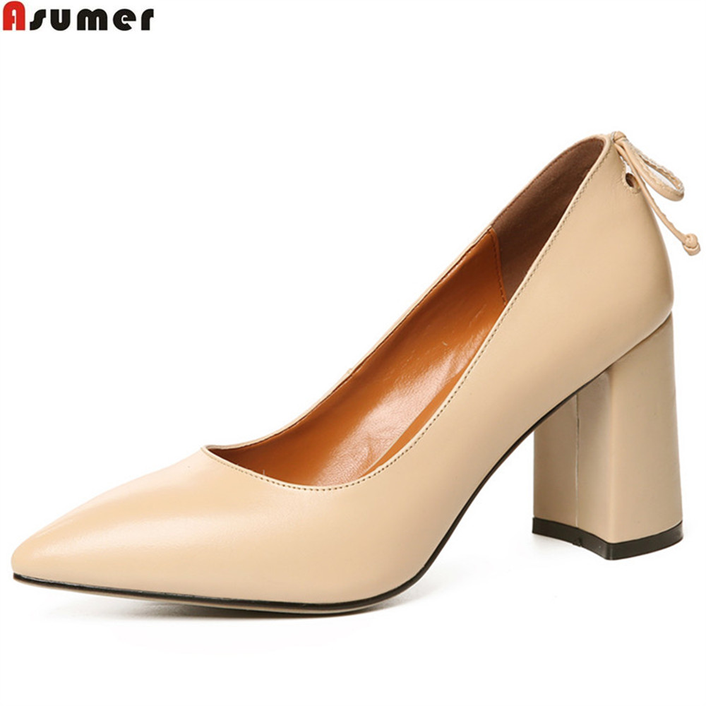 ASUMER apricot brown fashion pointed toe shallow spring auutmn ladies dress shoes thick women genuine leather high heels shoes asumer black orange square toe shallow ladies pumps thick heel spring auutmn women suede leather high heels shoes big size 33 43