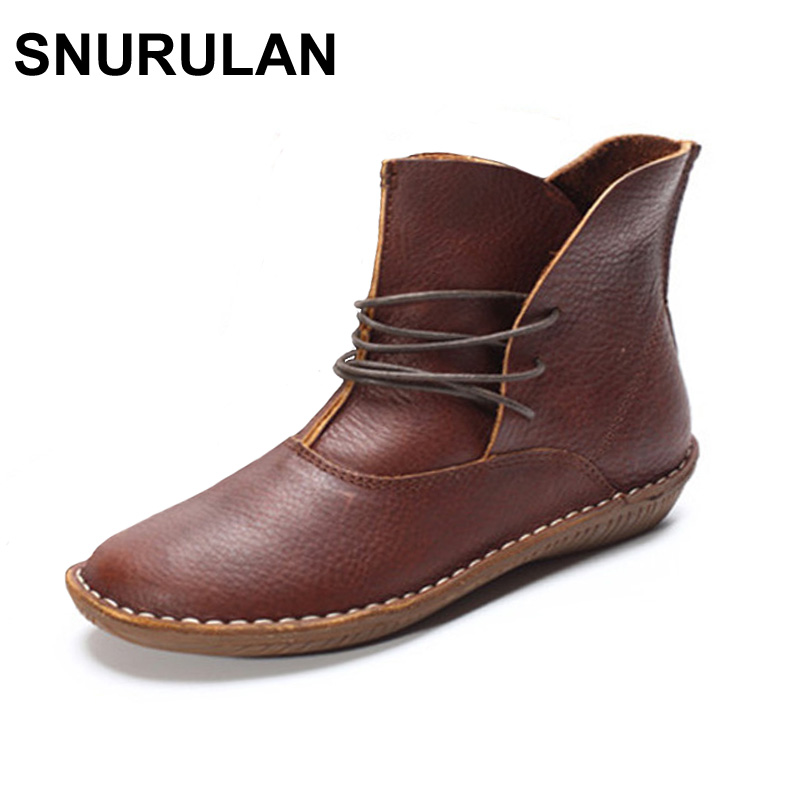 SNURULAN Women Boots Genuine Leather Shoes Brown Black Flat Ankle Boots Round toe lace up Spring