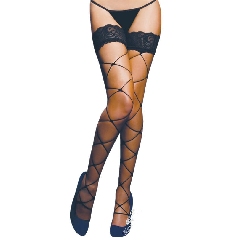 A2035 Solid Color Black Lace Mesh Top Sexy Stockings Hot Medias Leg Women Compression Stockings Bow Beautiful Lace Stockings Women's Socks & Hosiery Underwear & Sleepwears