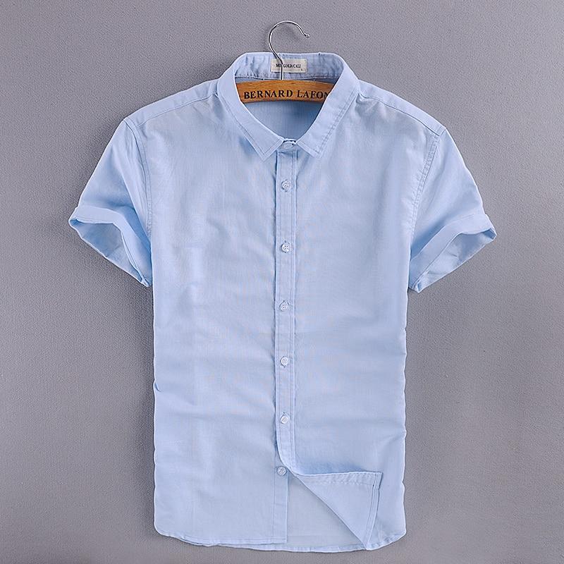 İtalya marka pamuk gömlek erkekler slim fit kısa kollu turn-down - Erkek Giyim - Fotoğraf 1