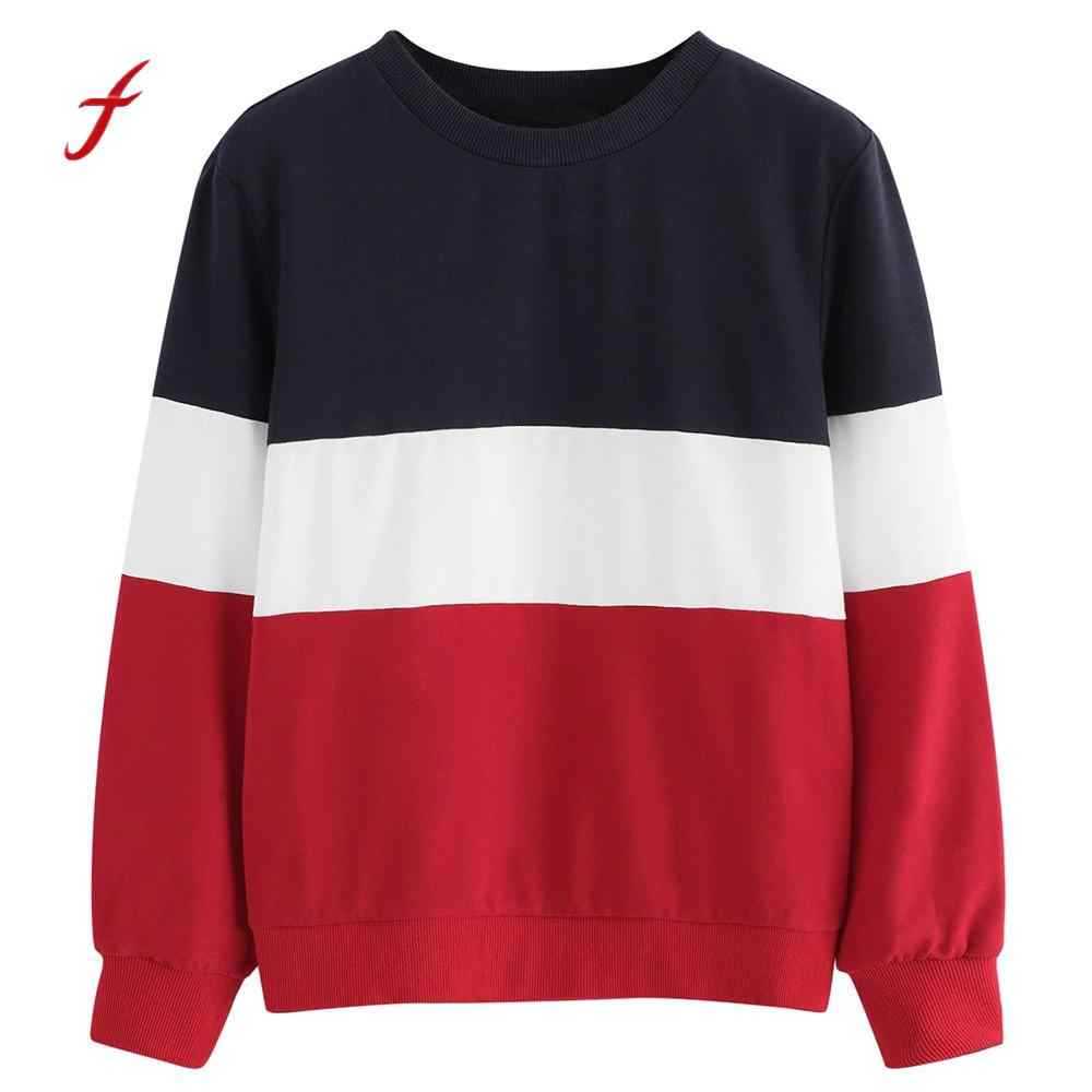 9844a0e24 Hoodie Women Long Sleeve Cut Sew Pullover Stripe Print Sweatshirt Blouse Top  2018 autumn women fashion