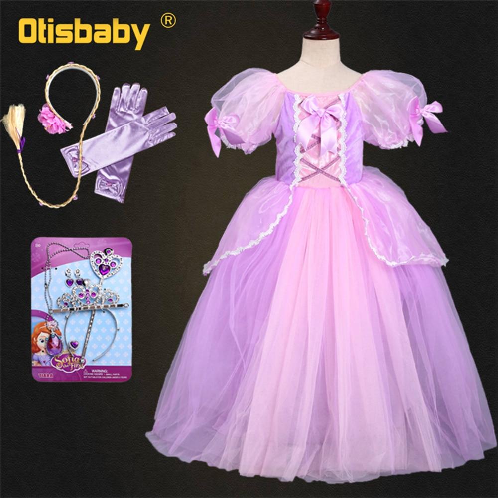 Girls Sofia Rapunzel Dress Kids Puff Sleeve 6 Layers Fluffy Arm Sleeves The Tangled Princess Costume Wig