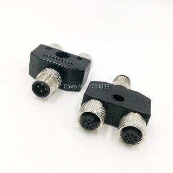 M12 Y-образный Трехходовой трубы водонепроницаемый сенсор разъем мужской женский 4 5 контактный разъем преобразования
