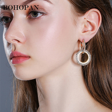 Korea Circle Earrings For Women Chic Alloy Crystal Hoop Earrings Simple Gold Color Geometric Earrings Wedding Jewelry Bijoux