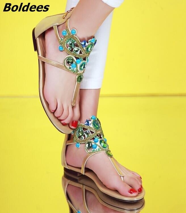 Cristal Vêtements Bâton Plat Chaussures orteil Or Lady De Sandales Mode Flip Strass Clip 2017 Femmes Gladiateur rose Casual flop Plage g0Eqv5w