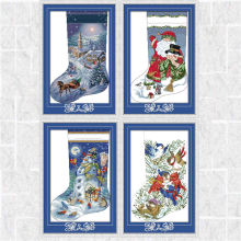 Рождественские носки Счетный diy dmc 14ct 11ct рисунок напечатанный