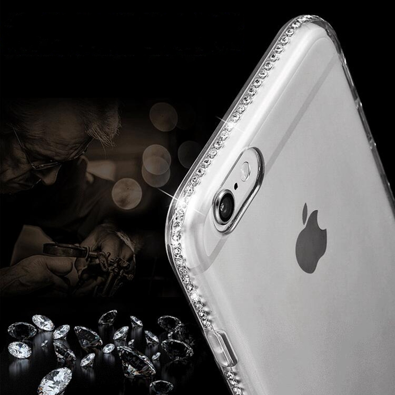 for iphone 8 plus Case 5s 5 Glitter Transparent Silicone Rhinestone Cover Bling Cases for iphone 7 Plus iphone X 6 6S Plus Case