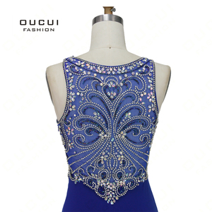 Image 4 - Robe sirène diamant De luxe, robe De soirée Vintage élégante, bleu Royal, Scoop, style sirène, collection 2019, OL103168