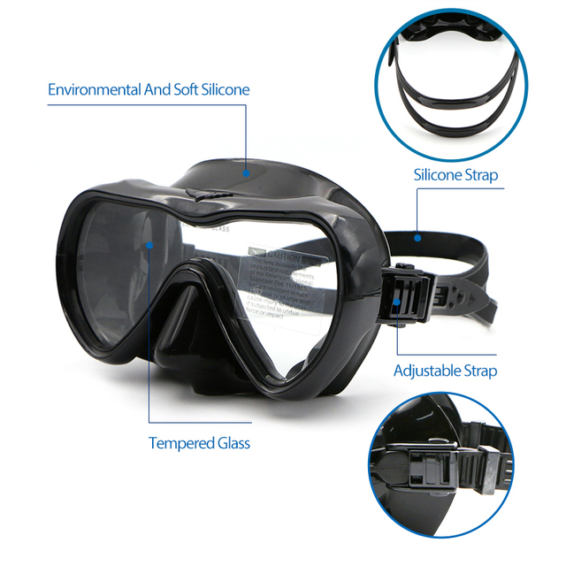 Professional silicone swimming fishing snorkeling scuba diving anti-fog goggles glasses mask and snorkel set