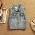 Mujeres libres del envío de primavera y el verano la moda chaleco de mezclilla para mujer algodón elegante mangas chaquetas Jeans chaleco