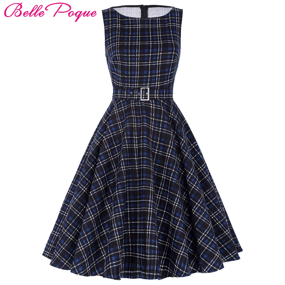 Belle Poque Women Summer Dress 2018 Rockabilly Audrey Hepburn Tunic robe Casual Clothing Vestidos 60s 50s Vintage Plaid Dresses