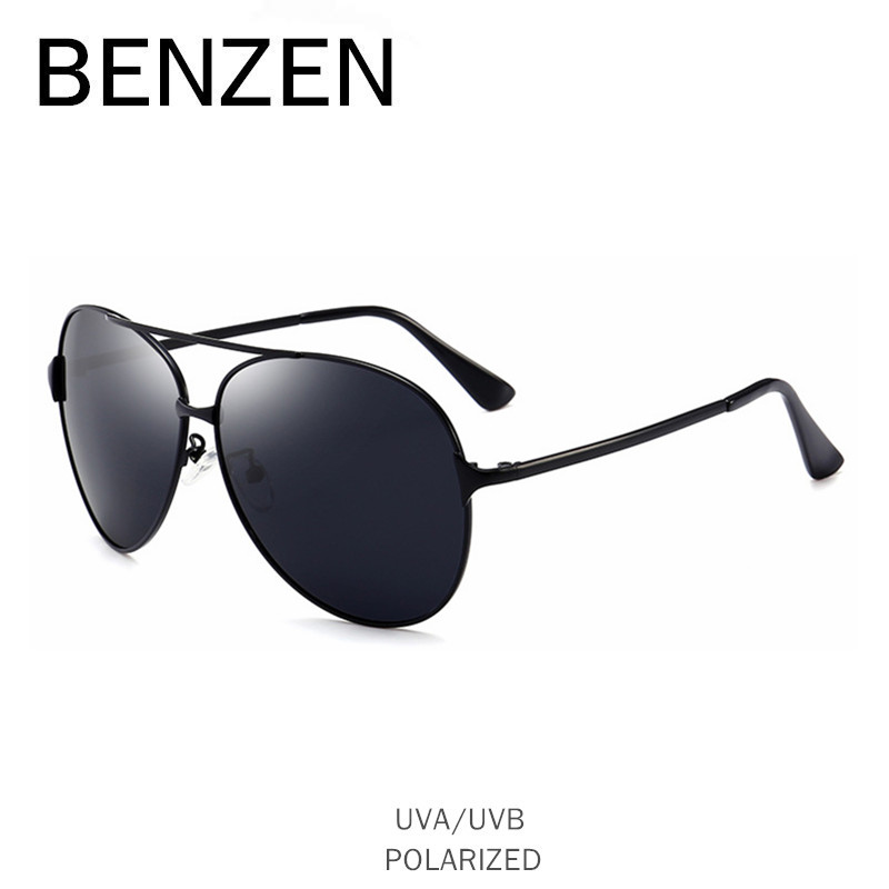 BENZEN Vintage Aviation Sunglasses Men Polarized Male Sun Glasses Driver Driving Mirror Glasses Shades With Case B9251 afofoo polarized sunglasses brand designer vintage square men driving mirror sun glasses high quality women retro uv400 shades