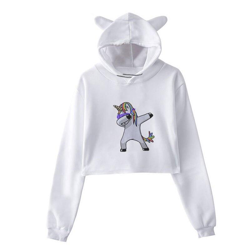 Sudaderas Mujer 2018 Unicorn Hip Hop Printing Hoodies Women Harajuku Kawaii Sweatshirt Plus Size Streetwear Clothes Sudadera