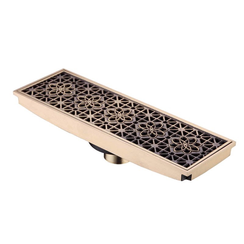 30 X 10 Rectangle Bathroom Drainer Linear Shower Floor Drain Trap Waste Grate Strainer Antique Brass Flower Carved