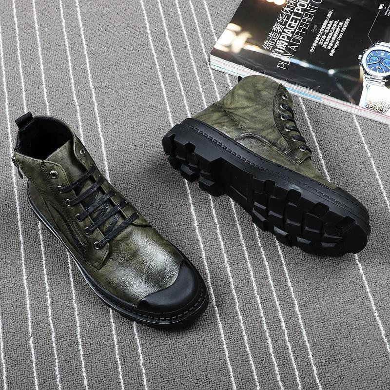 Genuinos Del Para De Vivodsicco Hombre Desierto Cuero Retro Tallada gris Bota Hombres Vintage verde Botas Zapatos Negro Alta Tobillo Motocicleta Arranque x0Cnq1wvSp