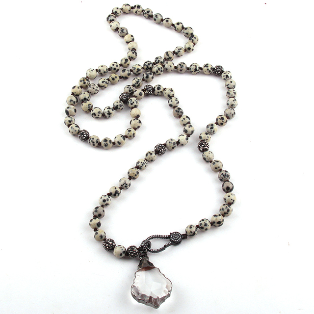 long knotted Natural Stone Black Gun Zircon Pave lobster clasp Crystal Pendant Necklace