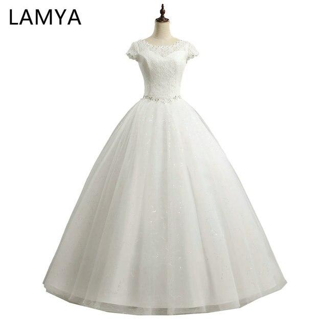 LAMYA Kurze Spitze Stil Modische Hochzeitskleid Kristall Kleider ...