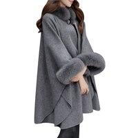 Women Woolen Overcoat Camel Poncho Winter Shawl Cape Faux Fox Fur Collar Feminino Loose Warm Outerwear Plus Size 2XL Overcoat