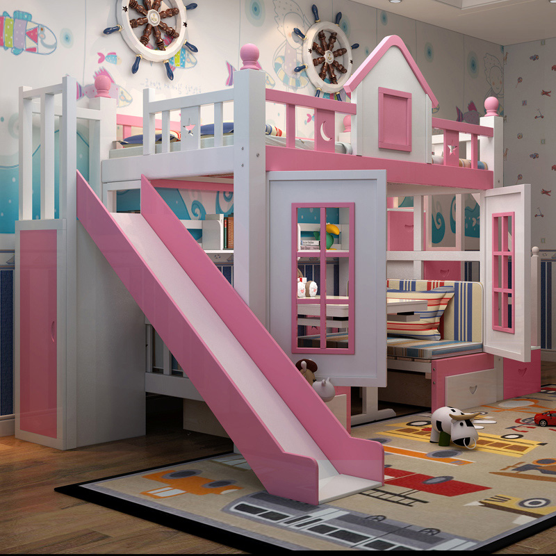 21  0128TB006 Fashionable kids bed room furnishings princess fortress with slide storages cupboard stairs double kids mattress HTB1Zm7hoRfH8KJjy1Xbq6zLdXXap
