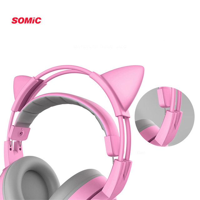 SOMIC G951s PS4 Pink Cat Ear Noise Cancelling Headphones 3.5mm Plug Girl Kids Gaming Headset with Microphone for Phone/Laptop 2