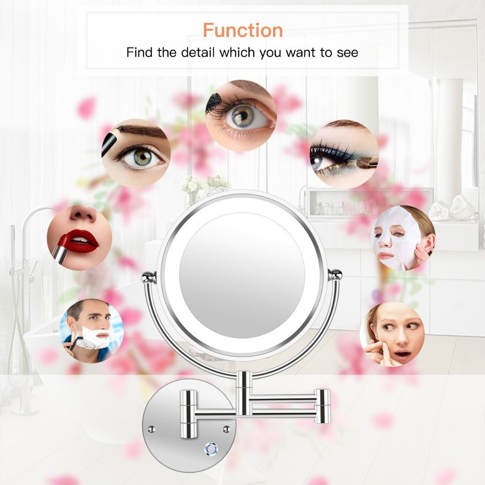 8.5 LED Double Sided Swivel Wall Mount Vanity mirror-10x Magnification,13.7 Extension,Touch Button Adjustable Light8.5 LED Double Sided Swivel Wall Mount Vanity mirror-10x Magnification,13.7 Extension,Touch Button Adjustable Light