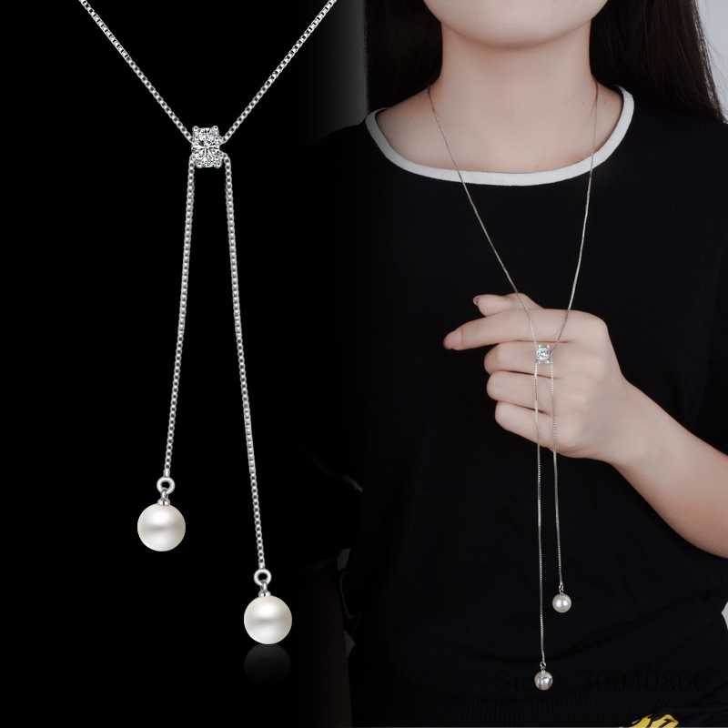 Simple Fashion 925 Sterling Silver Necklace Zirconia Pearl Sweater Long Chain Necklaces For Women choker collares S-N168