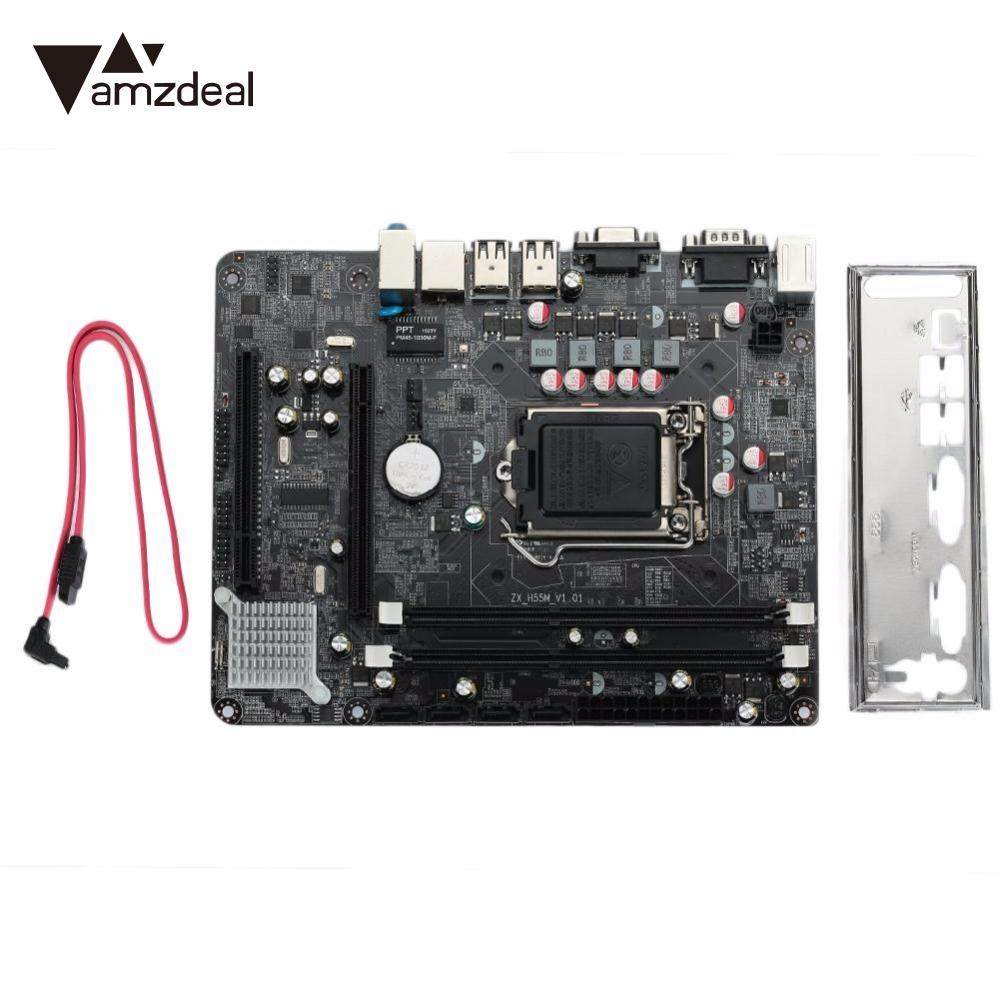 amzdeal Desktop Computer Mainboard Integrated Motherboard 1156 Pin CPU Interface H55 Network Card SATA Hard Drive Data original motherboard yeston a78l men edition am3 ddr3 938 pin rs780l board fully integrated desktop motherboard free shipping