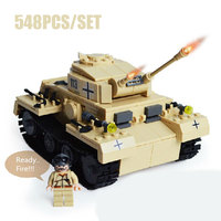 Military World War 2 Classic Vehicle German Cannon Panzerkampfwagen 3 Tank Model Army Solider Building Blocks