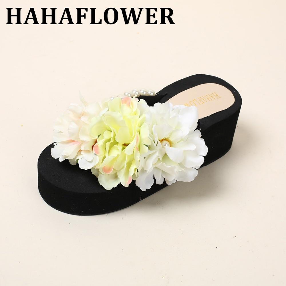HAHAFLOWER 2017 Woman sandals Bohemia flower summer sandal shoes pinch the new clip toe flowers flat han edition beach shoes