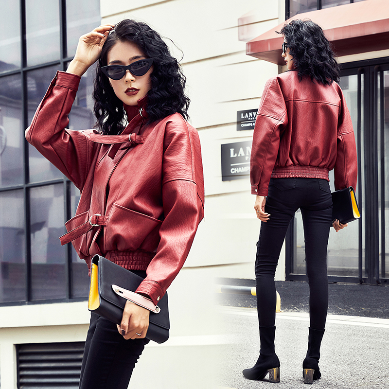2018 New Autumn Women Loose Faux Soft PU   Leather   Jackets Lady Free Motorcycel Biker Long Sleeve Coat Streetwear Wine Red Black