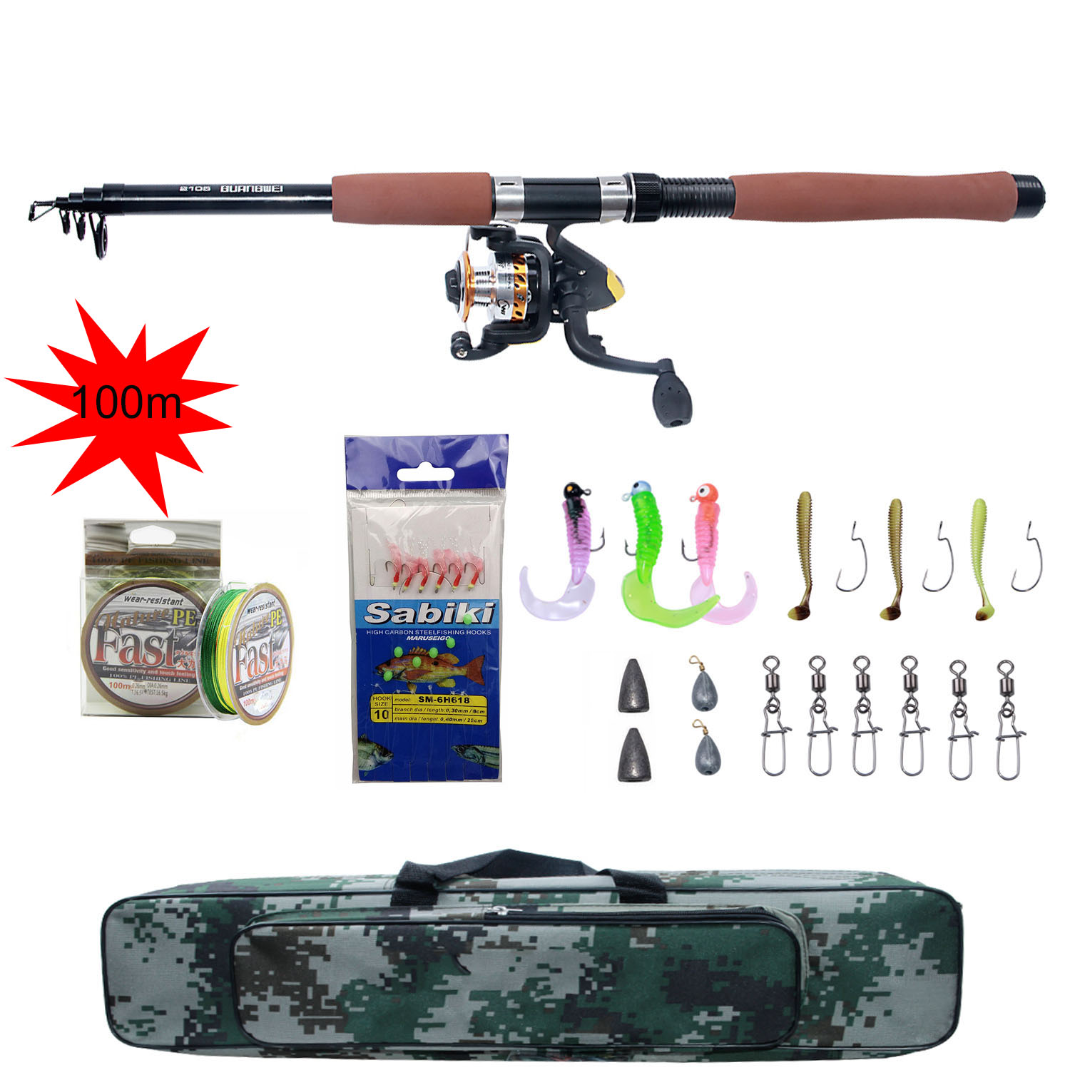 Reel Tackle Fishing-Rod-Combo Telescopic Spinning-Fishing-Reel Pole-Set And 100M Lures-Hooks title=