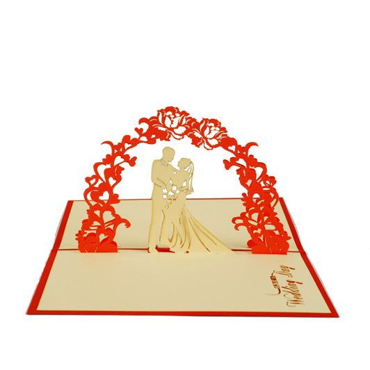 Wedding flower arch wedding invitation customise /3D pop up greeting card/ handmade wedding cards  Free shipping butterfly orchid flower thank you card 3d pop up greeting card handmade card free shipping