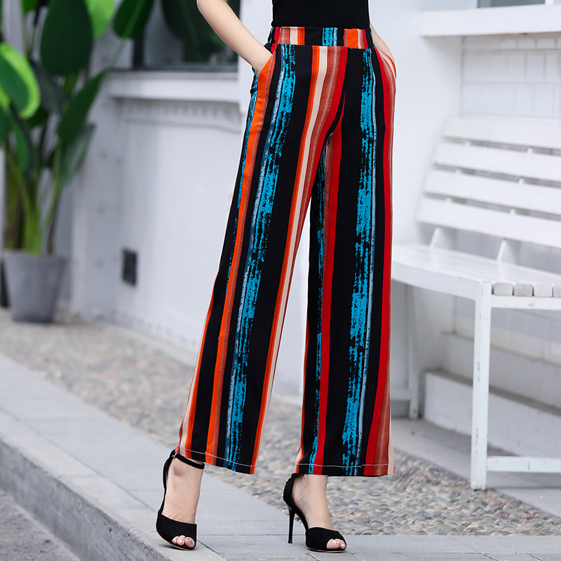 2019 Summer Bohemian Style Striped   Wide     Leg     Pants   Elastic Waist Ankle-Length Trousers Women Loose Casual Female   Pants   Plus Size