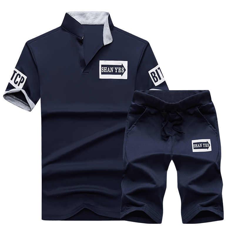 FGKKS Новая летняя одежда, приталенный мужской спортивный костюм с принтом, мужской комплект, роскошные весенние мужские костюмы, Sudaderas Hombre, 2 предмета, трикотажные комплекты поло