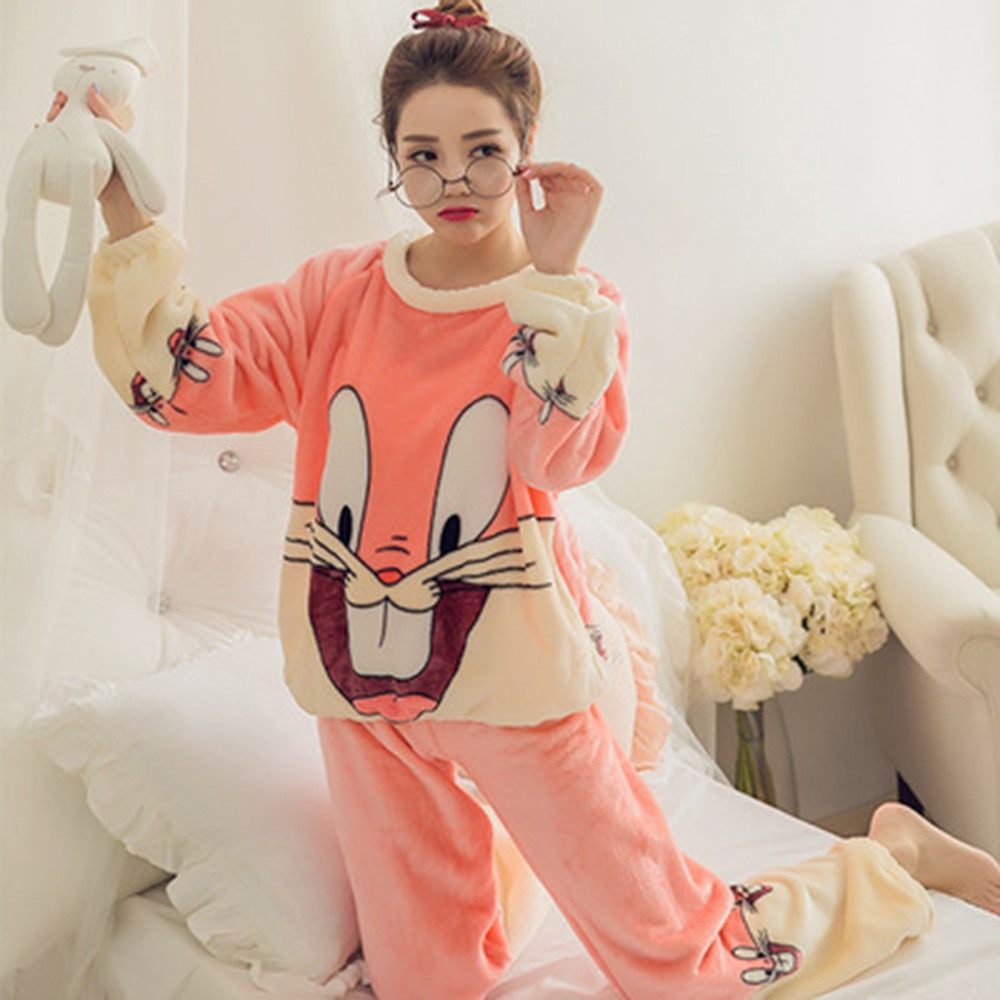 2018 Winter Hot Thick Women Coral Velvet Pajama Set Home Wear Sleepwear Suit Warm Soft Korean Cute Rabbit Two Pieces Suits Girl