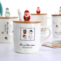 European style snowman Santa Claus wooden cover ceramic cup Christmas doll head Creative Chinese Ceramic mark cup Free Shipping