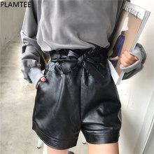 1b225a0967 Plamtee vintage estilo coreano Pantalones cortos feminino nuevo otoño  pajarita alta cintura Slim cuero Pantalones cortos